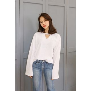 Cutout-Front Bell-Sleeve Top 1057493545