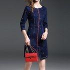 3/4-Sleeve Patterned Denim Sheath Mini Dress 1596