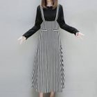 Set: Long-Sleeve T-Shirt + Striped Midi Pinafore Dress 1596