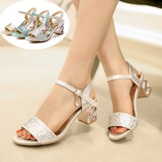 Sequined Chunky Heel Sandals 1061710594