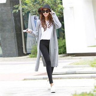 Slit-Side Long Cardigan