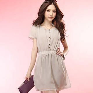 Buy Tokyo Fashion Short-Sleeve Buttoned Chiffon Dress 1022996750