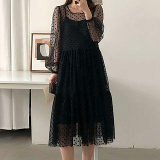 Image of Set: Slipdress + Long-Sleeve Dotted Mesh Midi A-Line Dress
