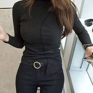 Long Sleeve Asymmetrical Ribbed T-Shirt 1057036301