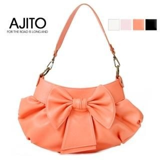 Picture of AJITO Bow-Accent Faux-Leather Handbag 1022254192 (AJITO, Handbags, Korea Bags, Womens Bags, Womens Handbags)