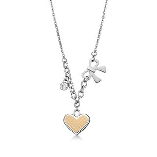 Image of Ip Rose Gold Heart Shaped in square pattern with Bow and crystal necklace Ip Rose Gold - One Size