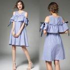 Cutout Shoulder Ruffle A-Line Dress 1596
