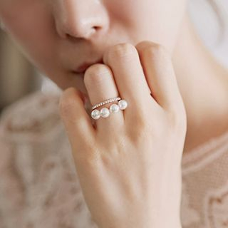 Faux Pearl Double Ring