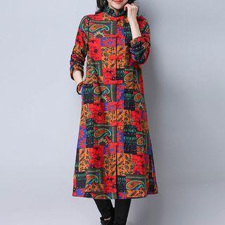 Mandarin Collar Printed Long Padded Jacket 1063932685