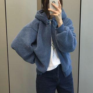 Hooded Zip Fleece Jacket Blue - One Size