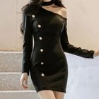 Cutout Buttoned Sheath Dress 1596