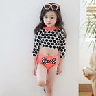 Kids Set: Dotted Cropped Rashguard + Bow Accent Swim Bottom 1596