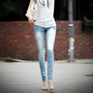Picture of AKA Distressed Detail Washed Skinny Jeans 1023032735 (Womens Skinny Pants, AKA Pants, South Korea Pants)