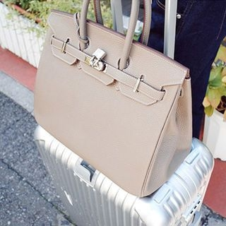 Padlock Belted Genuine-Leather Tote