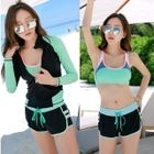Set: Color Block Bikini + Swim Shorts + Zip Front Rashguard 1596