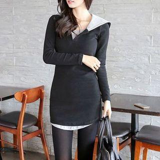 Hooded Sheath Dress Black - One Size 1055697590