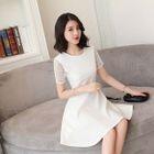 Crochet Lace Panel Short-Sleeve A-Line Dress 1596