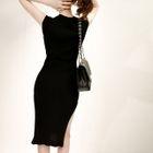 Open-Placket Sleeveless Ribbed Dress with Sash 1596