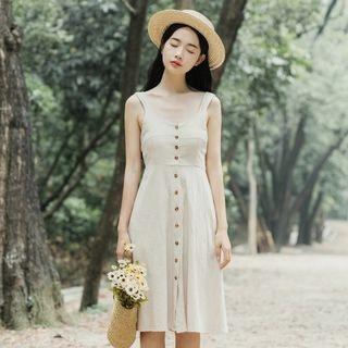Sleeveless Button-Front Dress 1066427303