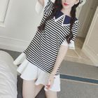 Short-Sleeve Ruffle Striped Dress 1596