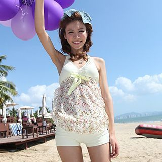 Set: Floral Print Tankini Top + Swimshorts 1049349889