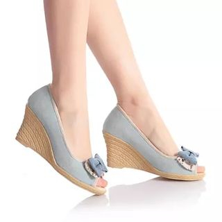 Bow Peep Toe Wedges 1049039465