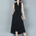 Plain Sleeveless V-Neck Midi Chiffon Dress 1596