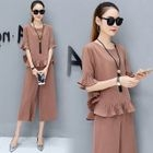 Set: Elbow-Sleeve Frilled Top + Cropped Wide-Leg Pants 1596