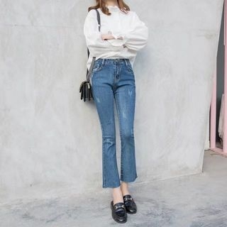 Ripped Boot Cut Jeans 1065956556