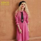 Long-Sleeve Frilled-Trim Dress 1596