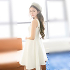 Sleeveless Tie Waist Frilled Dress 1596