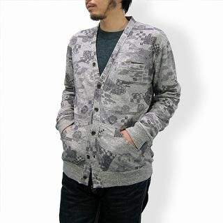 Picture of TOKYO LOCAL BAZAAR Patterned Cardigan - Classic Japanese Motif Gray - One Size 1014451958 (TOKYO LOCAL BAZAAR, Mens Tees, Japan)