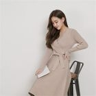 V-Neck Tie-Waist A-Line Knit Dress 1596