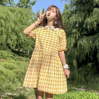 Short-sleeve | Babydoll | Yellow | Plaid | Dress | Mini | Size | One