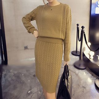 Set: Long-Sleeve Cable Knit Top + Cable Knit Skirt