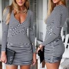 Long-Sleeve Deep V-Neck Striped Dress 1596