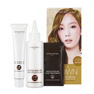 Nature Republic - Hair & Nature Hair Color Cream (#10N Gold Brown): Hairdye 60g + Oxidizing Agent 60g + Hair Treatment 9g 1050316772