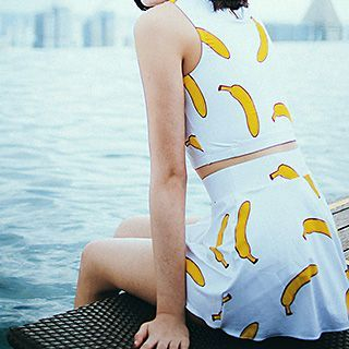 Set: Banana Print Tankini + Swimskirt 1049659869