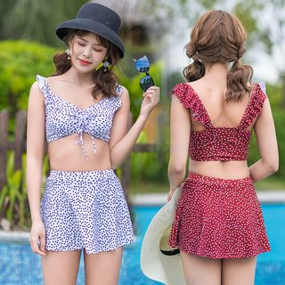 Image of Set: Dotted Swim Top + Skirt