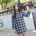 Round-Neck Plaid Mini Shift Dress 1596