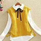 Ribbed Knit Vest / Set: Knit Vest + Long-Sleeve Blouse 1596