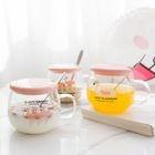Set: Flamingo Print Glass Mug + Lid 1596