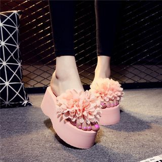 Image of Flower-Accent Platform Slide Sandals