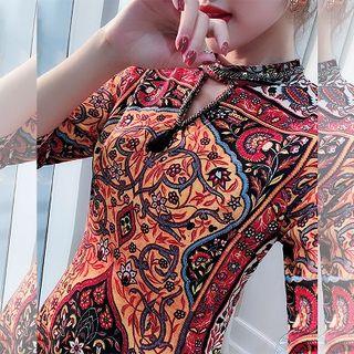 Rosewind Print Elbow-Sleeve Mock Two-Piece Dress