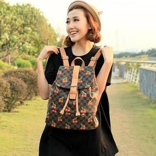 Cherry & Check Faux-Leather Backpack