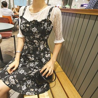 Set: Elbow-Sleeve Lace Top + Floral A-Line Pinafore Dress 1060905988