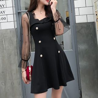 Image of Puff-Sleeve Mesh Panel Mini A-Line Dress