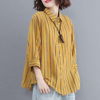 Taragon 3/4-Sleeve Striped Blouse