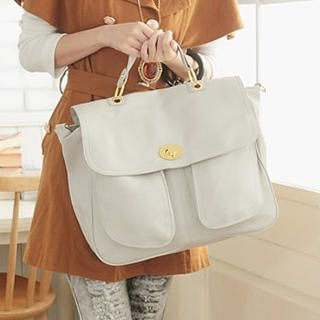 Twist-Lock Flap Satchel