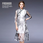 Chinese Frog Button Dyed Midi Dress 1596